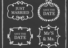 Free vector Blackboard wedding labels with retro style #22463