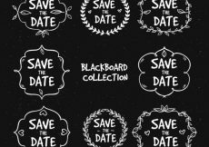 Free vector Blackboard wedding labels with variety of frames #22443