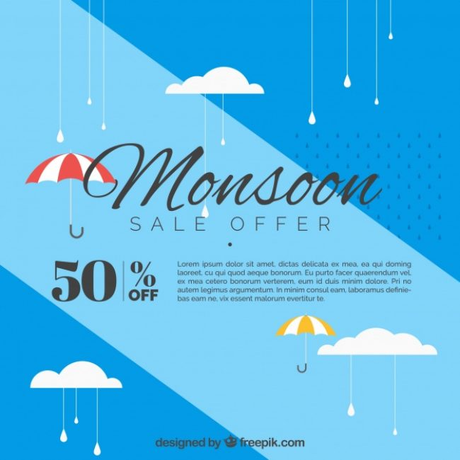 Free vector Blue background of monsoon sales with umbrella in flat design #20257