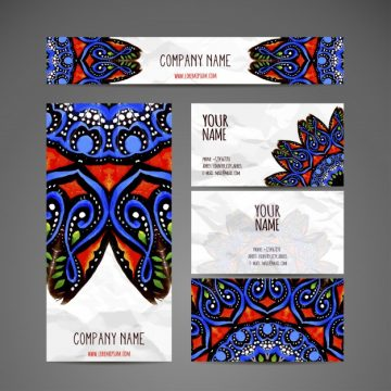 Free vector Business card collection in ethnic style hand draw #19998