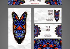 Free vector Business card collection in ethnic style hand draw #20000