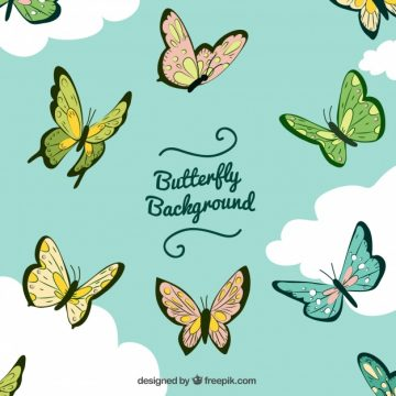 Free vector Butterfly and clouds background #19781