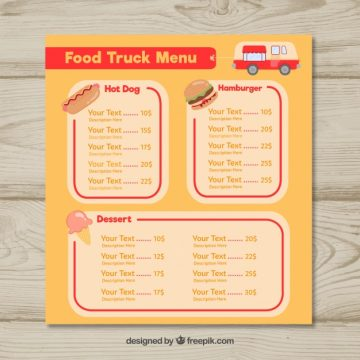 Free vector Classical food truck menu #21003