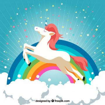 Free vector Cloud and rainbow background with happy unicorn #19615