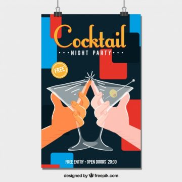 Free vector Cocktail toast poster #20681