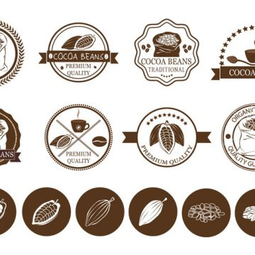 Free vector Cocoa Beans and Coffee Label Vectors #22313