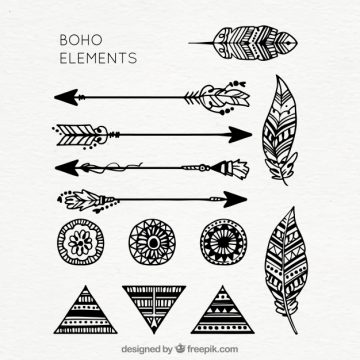 Free vector Collection of hand drawn boho elements #20743