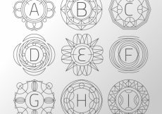 Free vector Collection of hand drawn monogram #19962