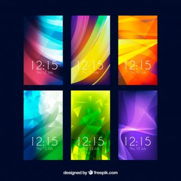 Free vector Colorful abstract wallpaper pack for mobile phone #20273