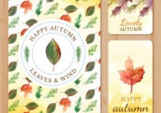 Free vector Colorful collection of watercolor autumn cards #20585