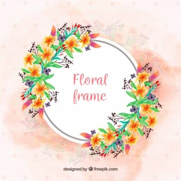 Free vector Colorful floral frame with watercolor flowers #23195