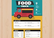 Free vector Colorful food truck menu with icons #22324