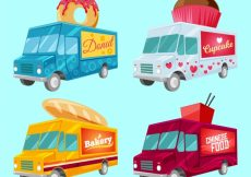 Free vector Colorful pack of original food trucks #23252