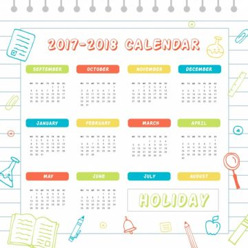 Free vector Colorful school calendar 2017 #23157