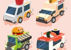 Free vector Colorful set of cool food trucks #20737