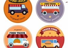 Free vector Colorful set of food truck logos #21288