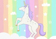 Free vector Colorful striped background with unicorn #19619