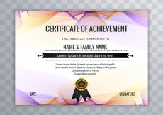 Free vector Colorful wavy certificate of achievement template #20413