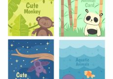 Free vector Cool pack of cards with cute animals #20439