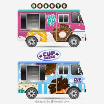 Free vector Cool pack of realistic food trucks #20721