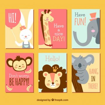 Free vector Cute animals on colorful cards #20477