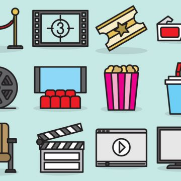 Free vector Cute Movie Theater Icons #20079