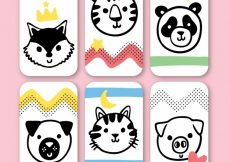 Free vector Cute pack of cards with animal faces #20481