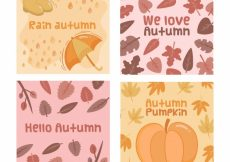 Free vector Cute pack of hand drawn autumn cards #20597