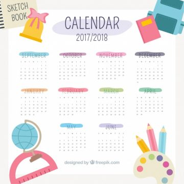 Free vector Cute school calendar 2017 #23145