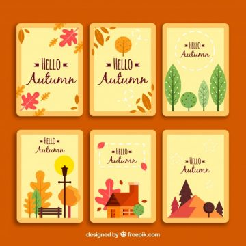 Free vector Cute set of autumn cards with flat design #22887