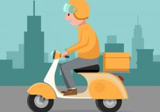 Free vector Deliveryman with classic scooter #21426
