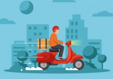 Free vector Deliveryman with scooter in the city #21430