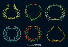 Free vector Doodle christmas round wreaths #22730