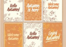 Free vector Elegant pack of hand drawn autumnal cards #22715