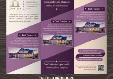 Free vector Elegant purple business design trifold brochure template #21180