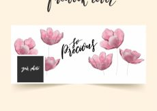 Free vector Facebook cover with watercolor flowers #19735