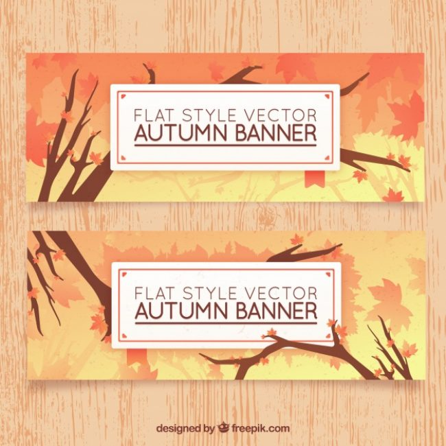 Free vector Flat autumn banners with deciduous tree #22827