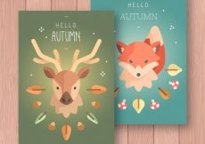 Free vector Flat autumn cards with deer and fox #22907