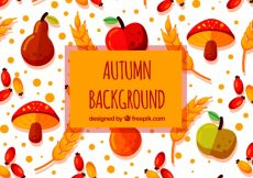 Free vector Flat autumnal background with fun pattern #22795