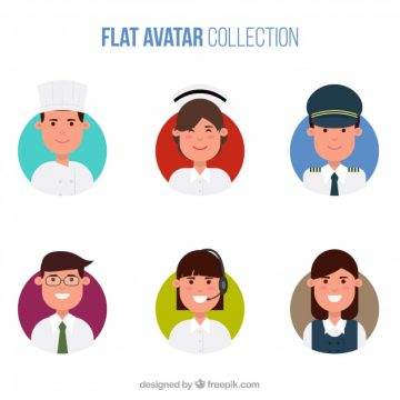 Free vector Flat avatar collection with variety of professions #22090