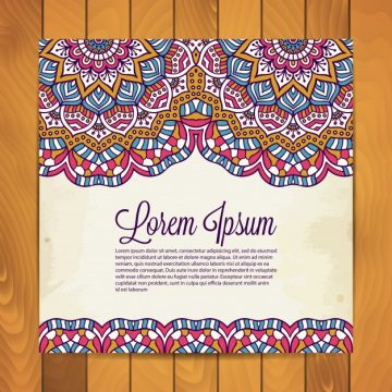 Free vector Floral card with mandala decoration #20833
