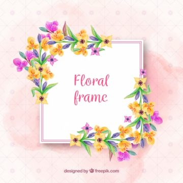 Free vector Floral frame with cheerful flowers #23185