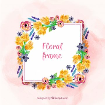 Free vector Floral frame with different watercolor flowers #23193