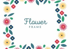 Free vector Floral frame with simple flowers #23163