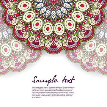 Free vector Floral mandala design with text template #19711