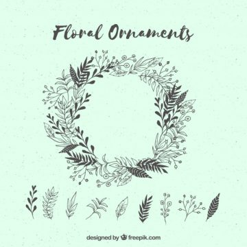 Free vector Floral wreath and hand drawn leaves #22761