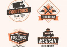 Free vector Food truck logos with elegant style #21286