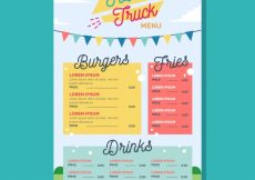 Free vector Food truck menu template with happy style #22333