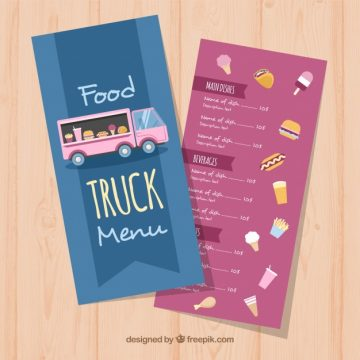 Free vector Food truck menu with variety of food #21015