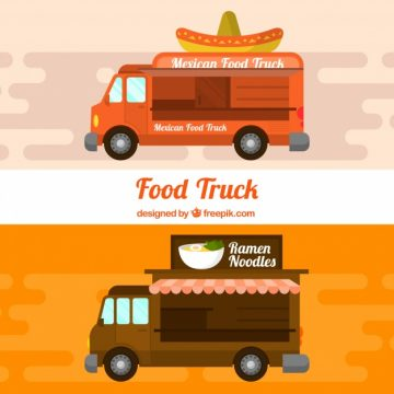Free vector Food trucks with mexican and asian food #20523
